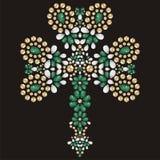 Cloverleaf brooch, jewelry, medallion, decoration. Jesus Christ. Royalty Free Stock Image