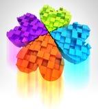 Cloverleaf colorato in tridimensionale con sfuocatura Fotografia Stock Libera da Diritti