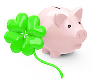 The cloverleaf. 3d generated picture of a cloverleaf and a piggy bank stock illustration