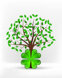 Cloverleaf happiness in front of green leafy tree vector Stock Photo