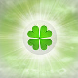 Cloverleaf luck in glossy bubble in the air with flare Stock Images
