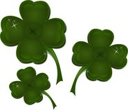 Cloverleaves. Set of three dark green cloverleaves vector illustration
