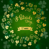 Clovers, beer and original lettering St. Patricks Day on a green Royalty Free Stock Image