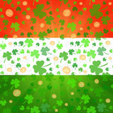 Clovers and coins background on St. Patrick's Day Royalty Free Stock Photos