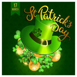 Clovers, coins, green hat and original lettering St. Patricks Da Stock Photos