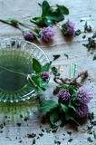 Clovers and dried herbs, natural homeopathic medicine Royalty Free Stock Image