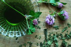 Clovers and dried herbs, natural homeopathic medicine Stock Image