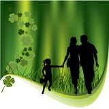Clovers and family Royalty Free Stock Photo