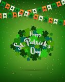 Clovers on green background for St.Patrick`s Day,design. With lettering,confetti and bunting in irish colors,vector illustration Royalty Free Stock Photos