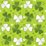 Clovers green leafs seamless pattern Royalty Free Stock Images