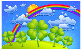 Clovers under rainbow. Cartoon landscape,  illustration for St. Patrick's day Stock Photo