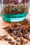 Cloves, allspice, star anise closeup Royalty Free Stock Image