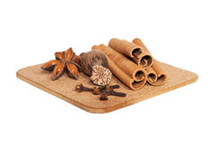 Cloves, anise and cinnamon isolated on white Stock Images