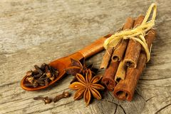 Cloves, anise and cinnamon on kitchen table. Dried herbs and seasoning. Spices for Christmas punch. Stock Images