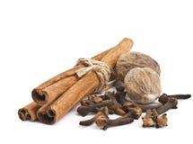 Cloves and cinnamon sticks on white Stock Image