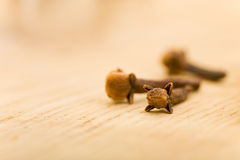 Cloves on cutting board in kitchen Stock Images