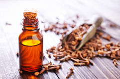 Cloves and oil Royalty Free Stock Photography