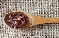 Cloves over rustic background royalty free stock images