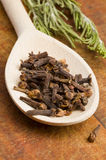 Cloves spice in spoon Royalty Free Stock Photo