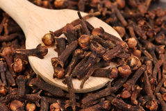 Cloves (spice) and wooden spoon close-up food background Royalty Free Stock Photos