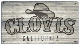 Clovis California Western Town Style tecken royaltyfria bilder