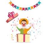 Clownöverraskning från gyckel för garnering för lycklig födelsedag för tecknad film för askgåvaparti Royaltyfri Foto