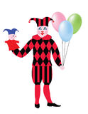 Clown. With balloons and puppet in the hands Stock Photo