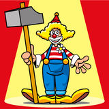 Clown. Circus clown, with a big hammer Royalty Free Stock Photo