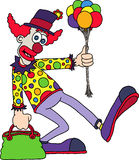 Clown. Illustration of a clown wearing a spotted clown shirt and big clown shoes, carrying a bunch of colourful balloons and a bag Stock Images