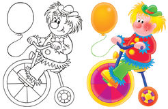 Clown. Funny clown rides bicycle (3 versions of the illustration Stock Images