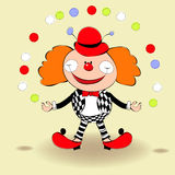 Clown. Happy clown. Universal template for greeting card, web page, background Stock Photos