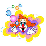 Clown. Cheerful red-haired clown with soap bubbles Royalty Free Stock Images