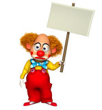Clown. 3 d cartoon cute clown holding placard Royalty Free Stock Images
