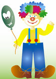 Clown. Colorful clown with balloon stock illustration