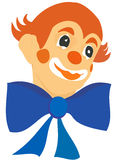Clown. Illustration raster, a clown's head with a large blue bow on a white background Royalty Free Stock Images