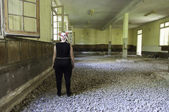 Clown in abandoned house. And ruined halloween royalty free stock images