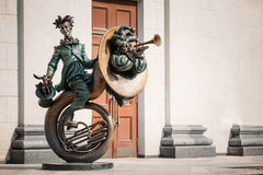 Clown Acrobat sculpture near Belarusian State Stock Images