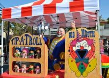 Clown Advertising. For Carnivalparties.com during the 2012 Fall Maspeth Flea Market Stock Photo
