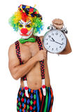 Clown with alarm clock Stock Photography