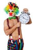 Clown with alarm clock Stock Photography