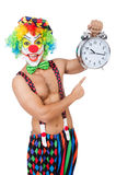 Clown with alarm clock Royalty Free Stock Photography
