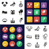 Clown All in One Icons Black & White Color Flat Design Freehand Set. This image is a vector illustration and can be scaled to any size without loss of resolution Royalty Free Stock Photos