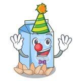 Clown almond milk in the cartoon shape. Vector illustration stock illustration