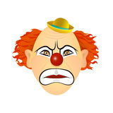 The clown in anger, rage, wrath. Vector illustration of flat design. Royalty Free Stock Photography