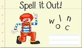 Clown anglais de mot de charme illustration stock