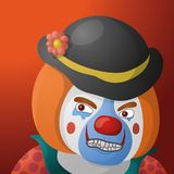 Clown angry. Evil clown, cartoon character in a bright suit and sinister makeup on orange background Stock Images
