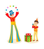 Clown animator entertains the audience on a cheerful celebration event. Clown animator entertains the audience on a cheerful celebration event, boy with cap on royalty free illustration