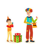 Clown animator shows tricks and scenes, amusing, delighting guests. Stock Photos