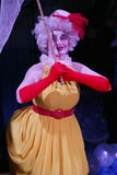 Clown Anna Orlova perform pantomime pop number. Royalty Free Stock Images