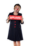 Clown with applause board Royalty Free Stock Image